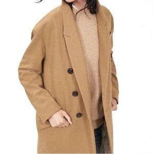 Camel Double Breasted Wool Coat